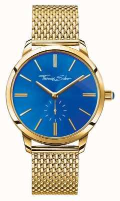 Thomas Sabo Womans glam spirit ze stali nierdzewnej, złoty pasek z siatki, niebieska tarcza WA0274-264-209-33