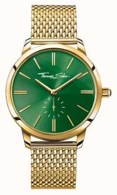 Thomas Sabo Womans glam spirytusowy pasek ze złotej siatki ze stali zielony WA0275-264-211-33
