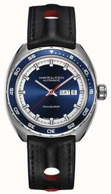 Hamilton Mens pan europ czarny skórzany pasek z niebieską tarczą H35405741