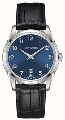 Hamilton Mens jazzmaster cienka niebieska tarcza czarny skórzany pasek H38511743