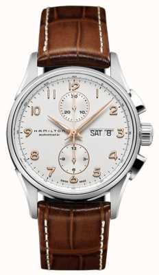 Hamilton Mens jazzmaster maestro biały skórzany pasek chronografu wybierania H32576515