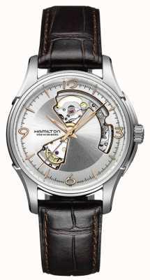 Hamilton Męskie jazzmaster otwarte serce brązowy skórzany pasek srebrna tarcza H32565555