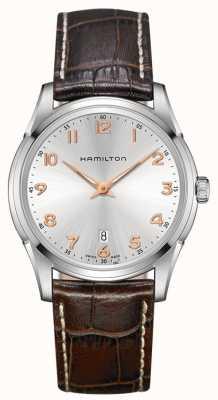 Hamilton Męskie jazzmaster cienki brązowy skórzany pasek srebrny tarcza H38511513