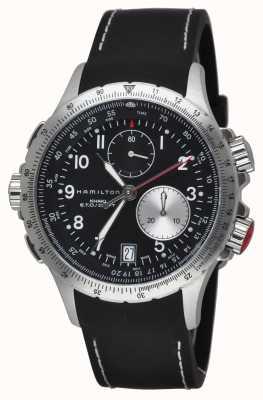 Hamilton Męskie khaki eto flyback chronograf czarny gumowy pasek H77612333