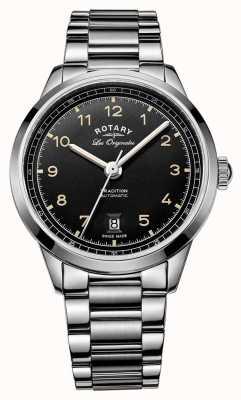 Rotary Męska tradycja automatyczna bransoleta ze stali szlachetnej czarna tarcza GB90184/19