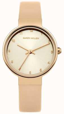 Karen Millen Damski skórzany pasek ze złota z różowego złota KM131CRG