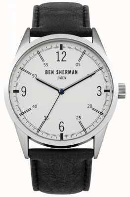 Ben Sherman Męski czarny skórzany pasek z białą tarczą WB051B