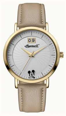 Disney By Ingersoll Damski łącznik z beżowym skórzanym paskiem w kolorze srebrnym ID00503