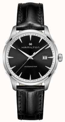 Hamilton Mens jazzmaster czarny skórzany pasek czarna tarcza H32451731