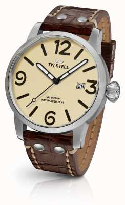 TW Steel Mens maverick cream sandwich dial brązowy skórzany pasek 45mm MS21
