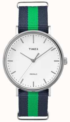 Timex Unisex weekendowy fairfax granatowy zielony pasek TW2P90800