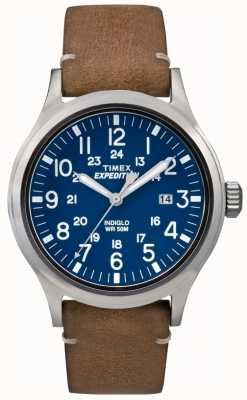 Timex Mens Scout Blue Dial brązowy skórzany pasek TW4B01800
