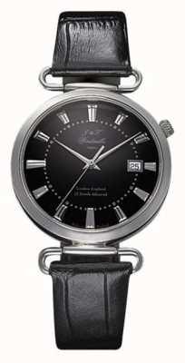 J&T Windmills Mens throgmorton zegarek mechaniczny czarna tarcza srebro WGS10005/04