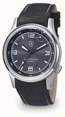 Elliot Brown Męski czarny skórzany pasek tyneham czarna tarcza 305-005-L15