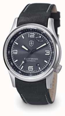 Elliot Brown Mens tyneham szary skórzany czarny wyświetlacz wyświetlacz caseback 305-D05-L15