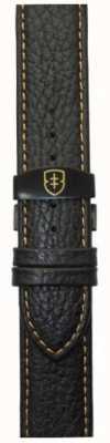 Elliot Brown Męski, 22mm, czarny, żwirowo-skórzany, opasany, zszyty pasek do ściegu STR-L11