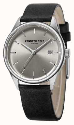 Kenneth Cole Damski czarny skórzany pasek srebrnej tarczy KC10025930