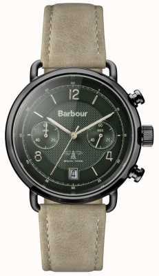 Barbour Męski skórzany pasek z salisbury khaki z zieloną tarczą BB053GRKH