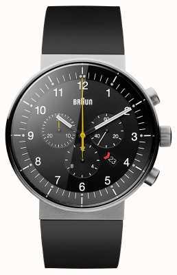 Braun Męski prestiżowy chronograf, czarny gumowy pasek, czarna tarcza BN0095BKSLBKG