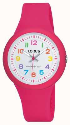 Lorus Unisex różowy gumowy pasek z białą tarczą RRX49EX9