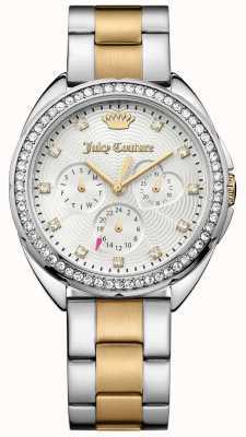 Juicy Couture Damska dwukolorowa bransoleta ze stali nierdzewnej srebrna tarcza 1901481