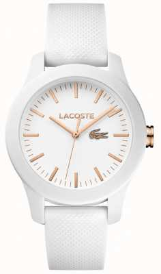 Lacoste Damski, 12.12 biały pasek z gumy, biała tarcza 2000960