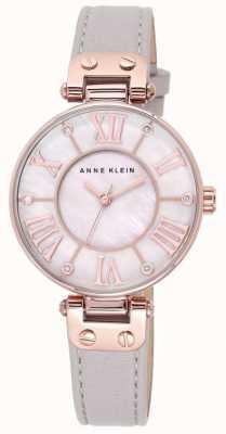 Anne Klein Damski szary skórzany pasek z masą perłową 10/N9918RGTP