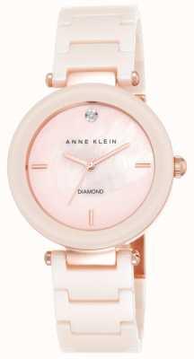 Anne Klein Damski różowy pasek ceramiczny z różową tarczą z masy perłowej AK/N1018PMLP