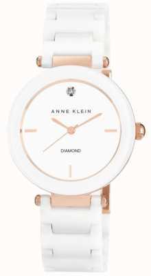 Anne Klein Damski biały ceramiczny pasek z białą tarczą AK/N1018RGWT