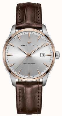 Hamilton Męskie jazzmaster brązowy skórzany pasek srebrny tarcza H32441551