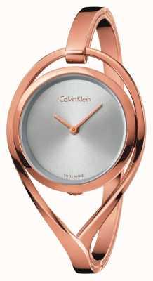Calvin Klein Damska srebrna tarcza z lekkim średnim różowym złotem K6L2M616