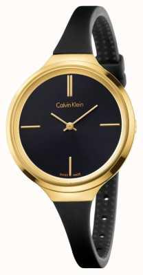 Calvin Klein Damski, żywy czarny gumowy pasek z czarną tarczą K4U235B1