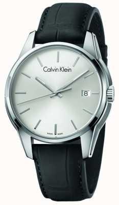 Calvin Klein Męski odcień czarny skórzany pasek srebrna tarcza K7K411C6