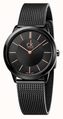 Calvin Klein Damski, minimalistyczny czarny pasek z siatki K3M22421