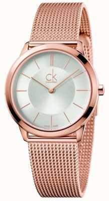 Calvin Klein Damska minimalistyczna różowa tarcza ze srebrnego złota K3M22626