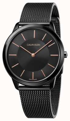 Calvin Klein Męski pasek z czarnej, minimalistycznej siatki K3M21421