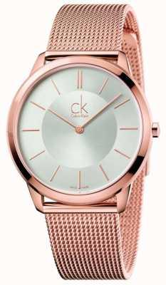 Calvin Klein Męskie minimalne różowe złoto tonowe srebrne pokrętło K3M21626
