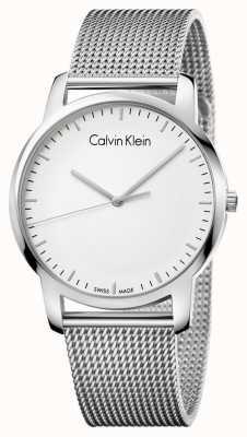 Calvin Klein Męskie miasto ze stali nierdzewnej pasek srebrny tarcza K2G2G126