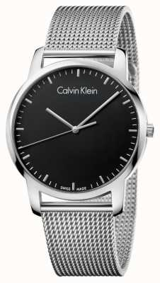 Calvin Klein Męskie miasto ze stali nierdzewnej pasek z czarną tarczą K2G2G121