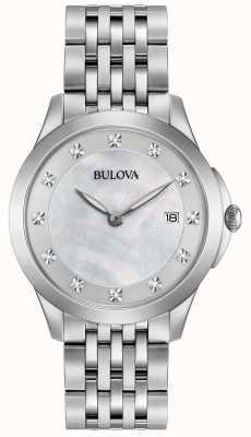 Bulova Srebrny diament womans ze stali nierdzewnej 96S174