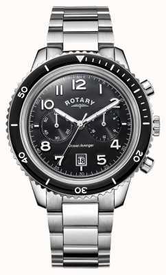 Rotary Męski morski mściciel chronograf czarny tarcza GB05021/04