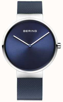 Bering Unisex, niebieski, stalowy pasek z siatki 39mm 14539-307