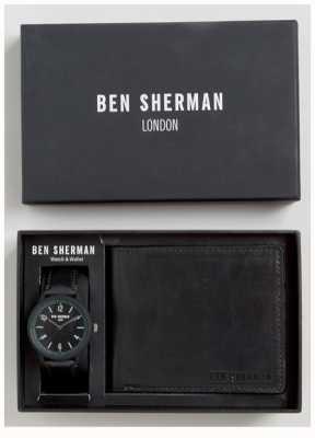 Ben Sherman Zestaw upominkowy dla mężczyzn z czarnymi portfelami WB050BBG