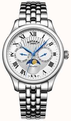 Rotary Męski srebrny zegarek ze stali nierdzewnej z fazą księżyca GB05065/01