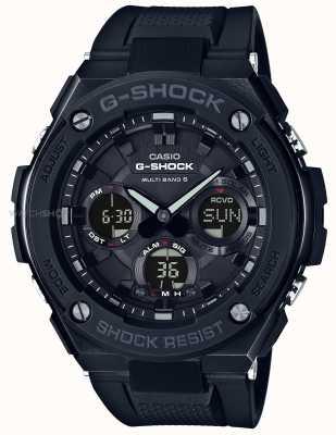 Casio Męski, g-stalowy chronograf z czarnym gumowym paskiem GST-W100G-1BER