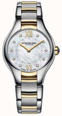 Raymond Weil Weteranów kobiecy dwutonowo 10 diamentowa tarcza z masy perłowej 5124-STP-00985