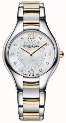 Raymond Weil Womans noemia stal nierdzewna dwukolorowa 10 diamentowa tarcza z perłą 5132-STP-00985