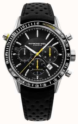 Raymond Weil Męski automatyczny czarny skórzany chronograf z czarnym paskiem 7740-SC1-20021