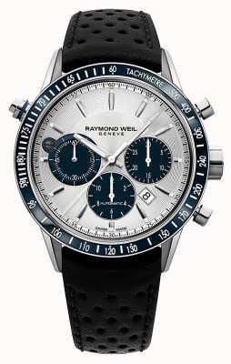 Raymond Weil Męski automatyczny czarny skórzany pasek chronografu 7740-SC3-65521