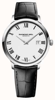 Raymond Weil Mens slim biały czarny skórzany 5488-STC-00300
